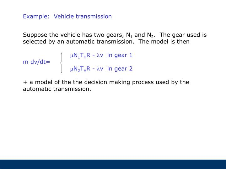 Example:  Vehicle transmission