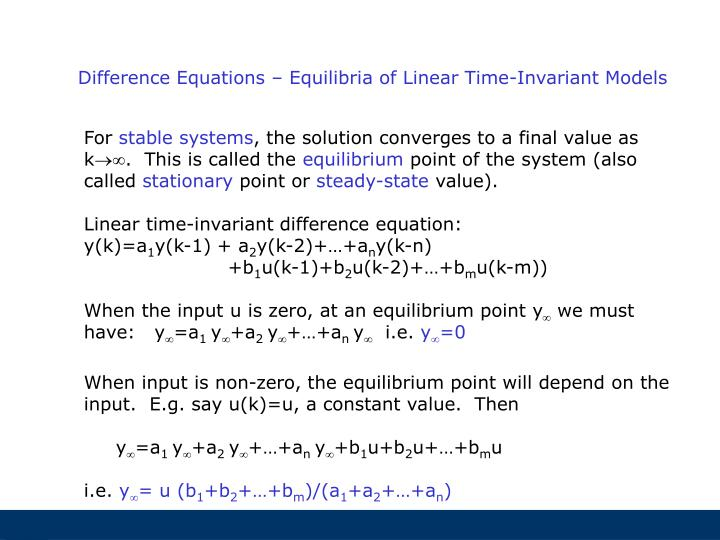 Difference Equations – Equilibria of Linear Time-Invariant Models