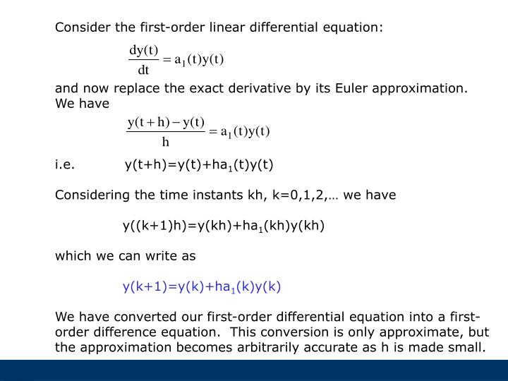 Consider the first-order linear differential equation: