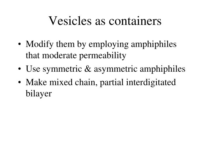 Vesicles as containers