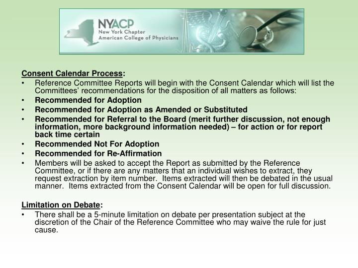 Consent Calendar Process