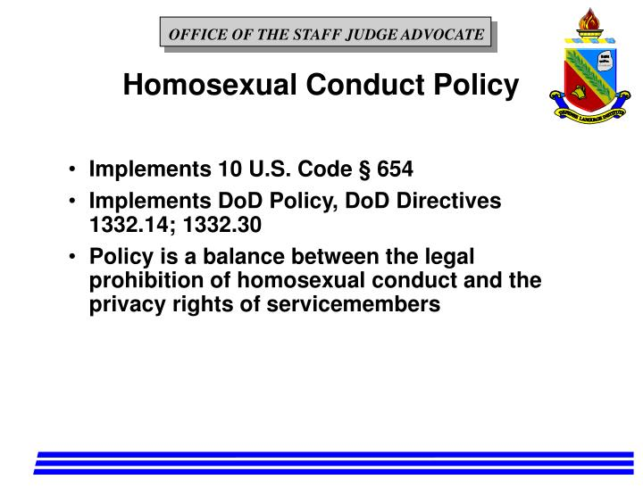 Homosexual Conduct Policy