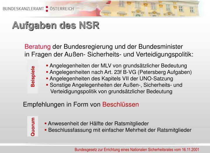 Aufgaben des NSR