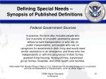 defining special needs synopsis of published definitions2
