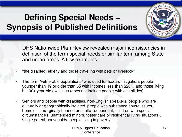Defining Special Needs –
