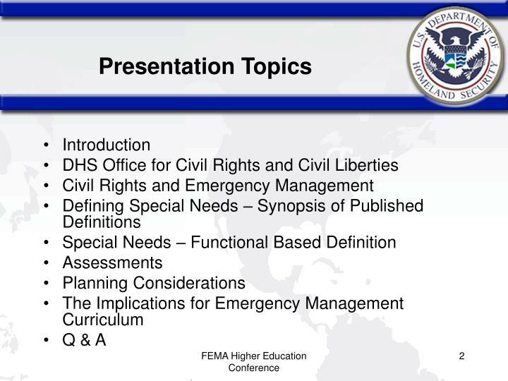 Presentation Topics