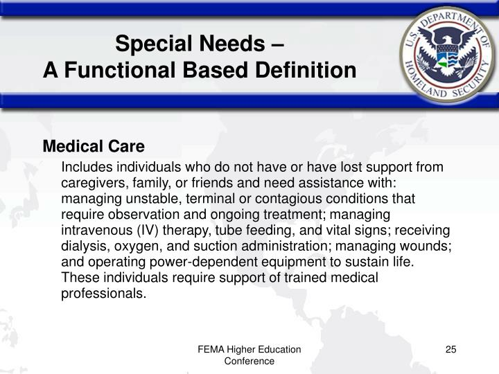 Special Needs –
