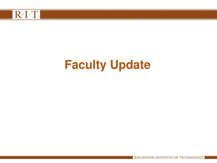 Faculty Update