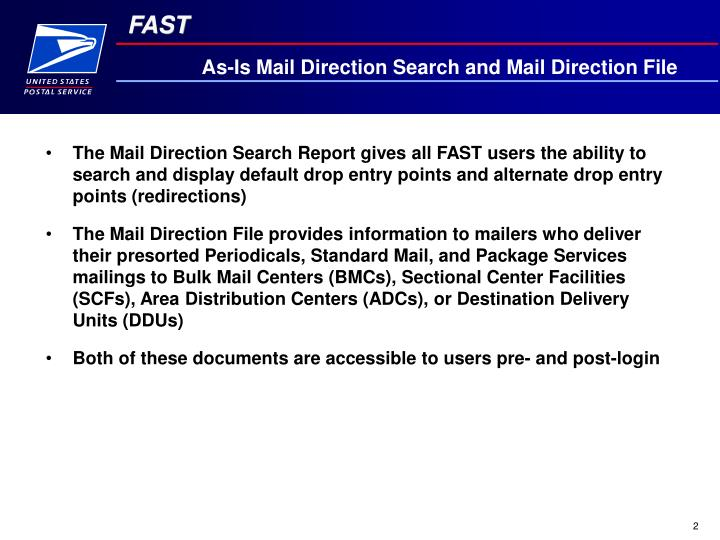 As-Is Mail Direction Search and Mail Direction File