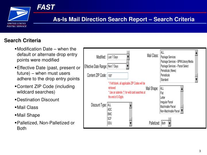 As-Is Mail Direction Search Report – Search Criteria