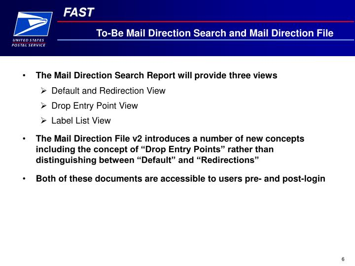 To-Be Mail Direction Search and Mail Direction File
