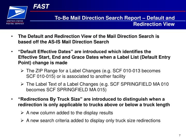 To-Be Mail Direction Search Report – Default and Redirection View