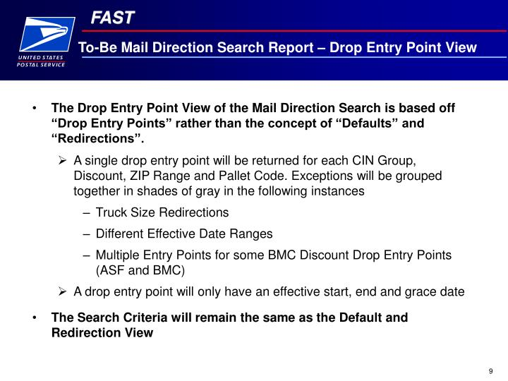 To-Be Mail Direction Search Report – Drop Entry Point View