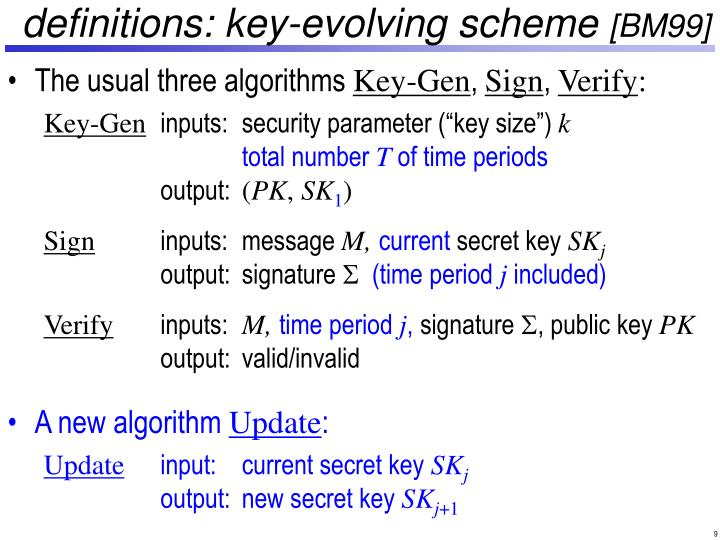 definitions: key-evolving scheme