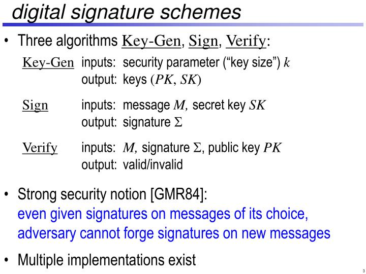 Digital signature schemes