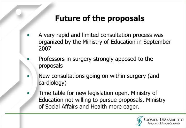 Future of the proposals