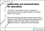 leadership and administration for specialists