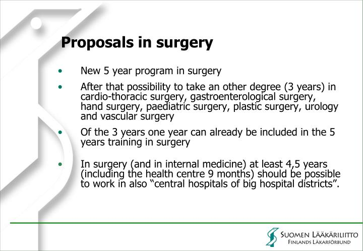 Proposals in surgery