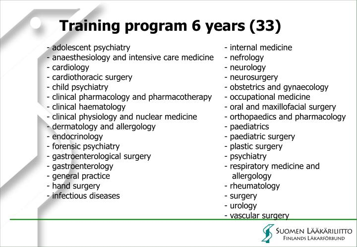 - adolescent psychiatry - internal medicine