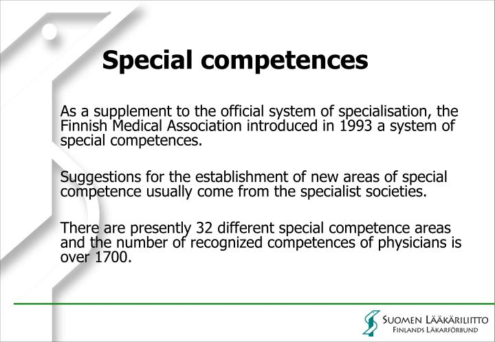 Special competences