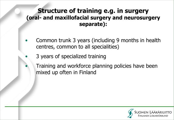 Structure of training e.g. in surgery