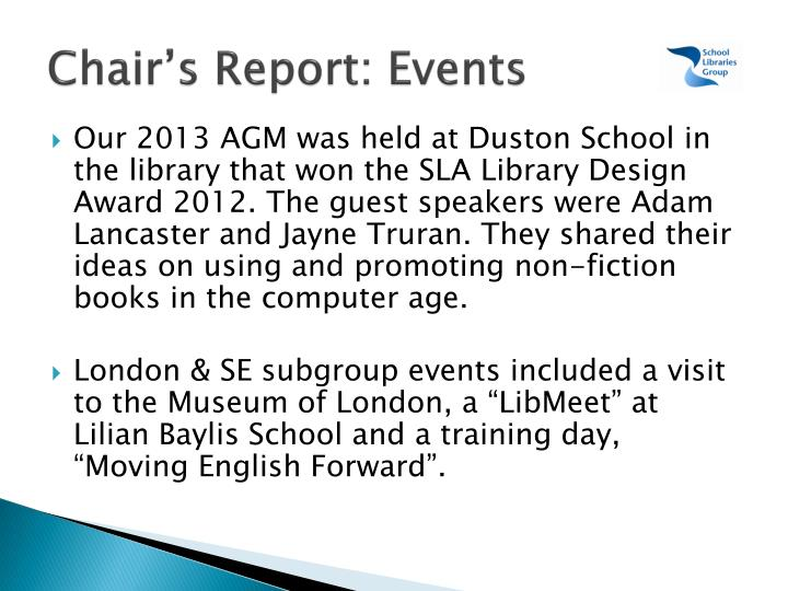 Chair's Report: Events