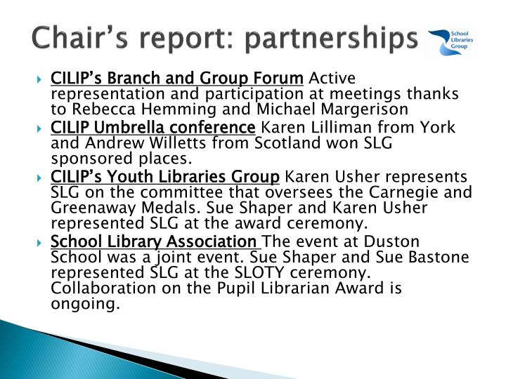 Chair's report: partnerships