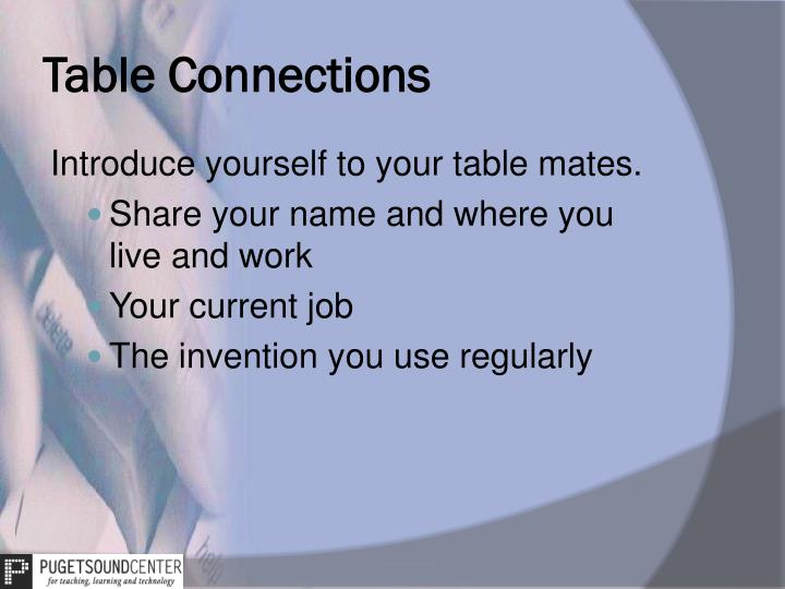 Table Connections