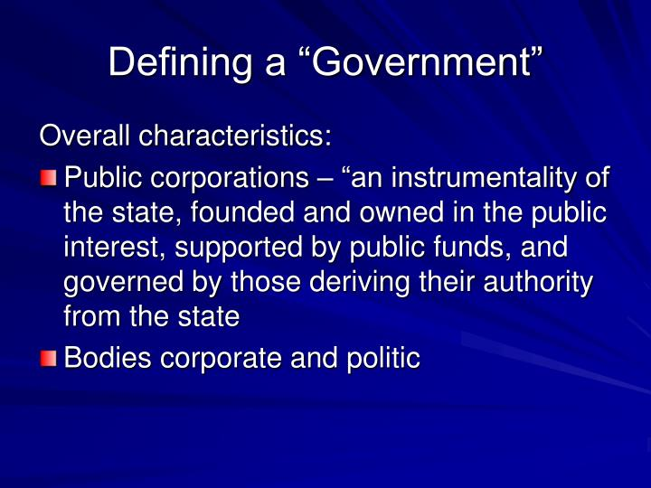 "Defining a ""Government"""