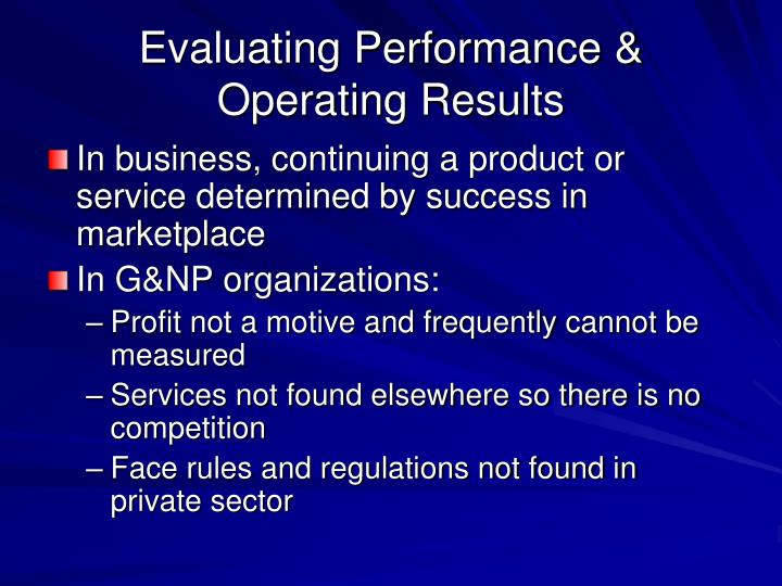 Evaluating Performance & Operating Results