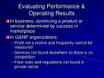 evaluating performance operating results