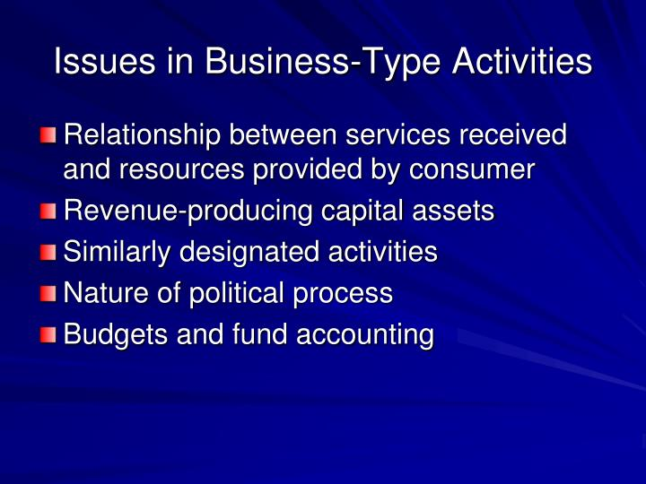 Issues in Business-Type Activities