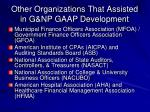 other organizations that assisted in g np gaap development