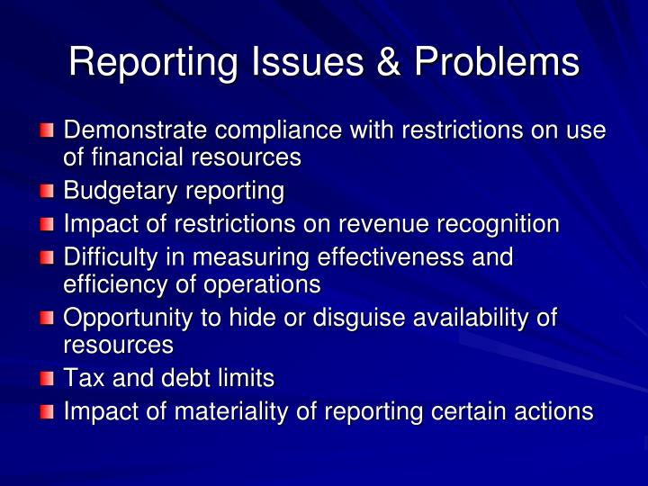 Reporting Issues & Problems