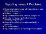 reporting issues problems