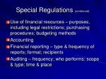 special regulations continued