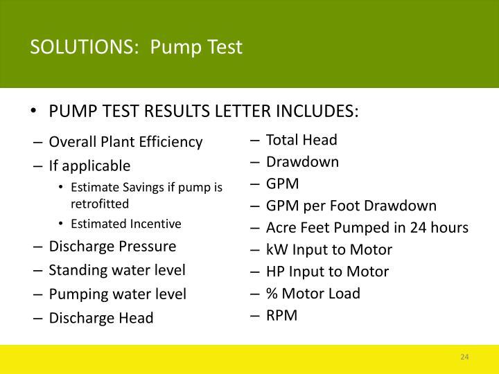 SOLUTIONS:  Pump Test
