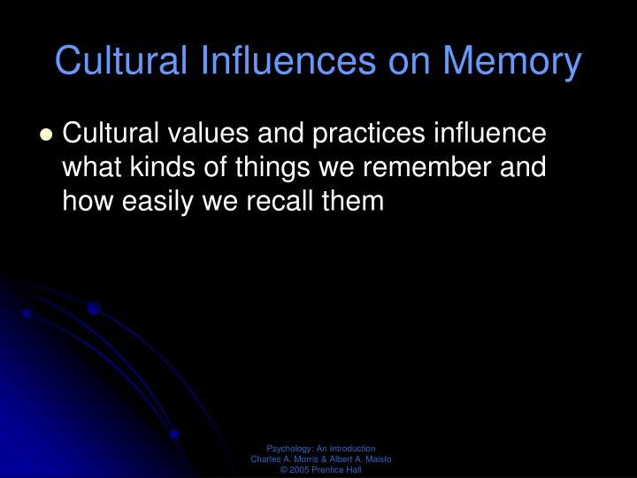 Cultural Influences on Memory