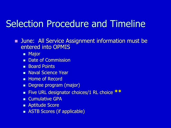 Selection Procedure and Timeline