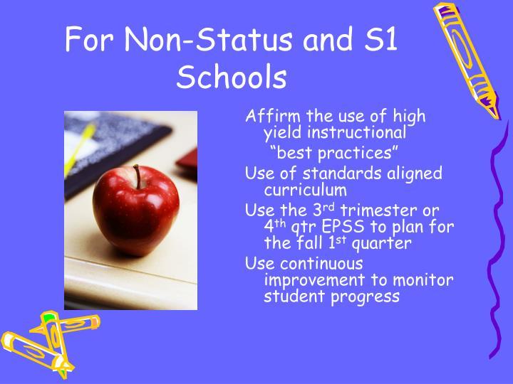 For Non-Status and S1 Schools