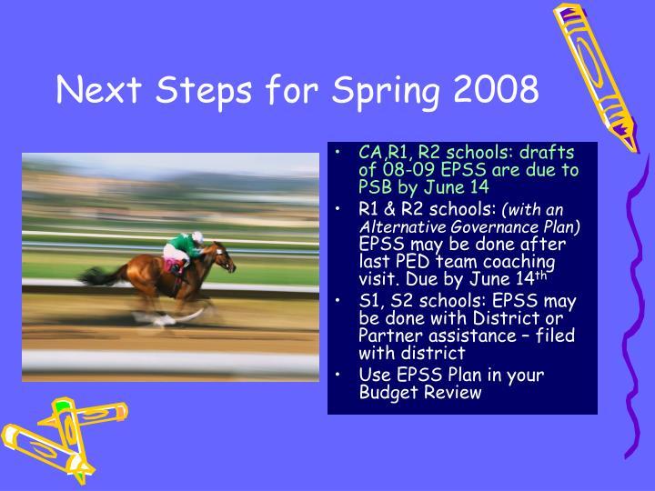 Next Steps for Spring 2008