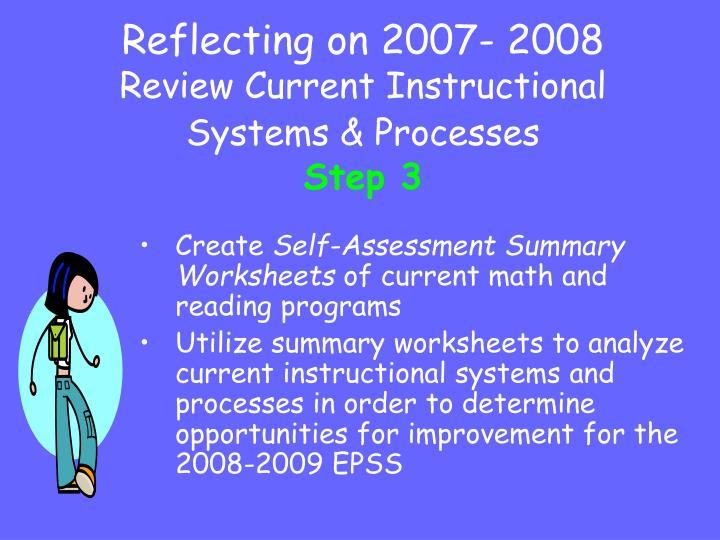 Reflecting on 2007- 2008