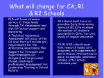 what will change for ca r1 r2 schools
