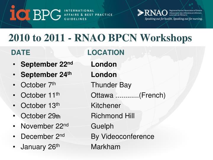 2010 to 2011 - RNAO BPCN Workshops