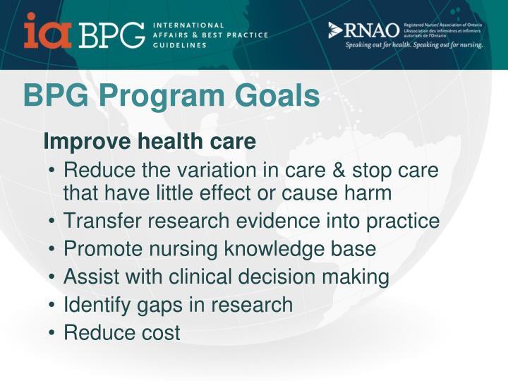 BPG Program Goals