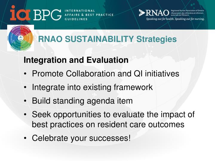 RNAO SUSTAINABILITY Strategies