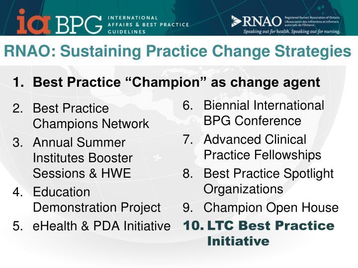 RNAO: Sustaining Practice Change Strategies