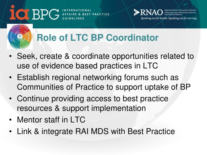 Role of LTC BP Coordinator