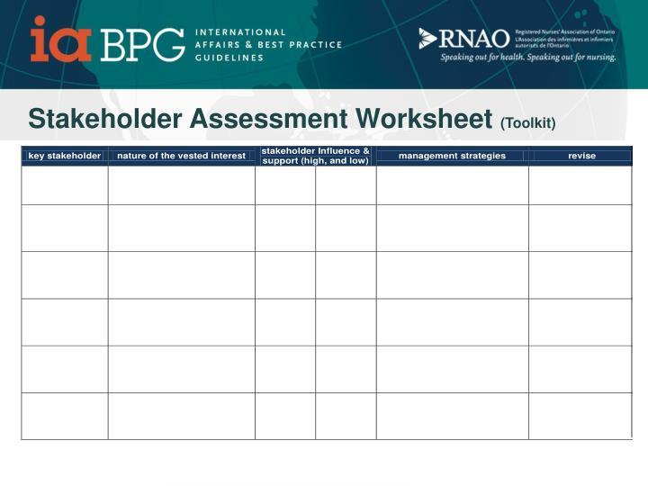 Stakeholder Assessment Worksheet