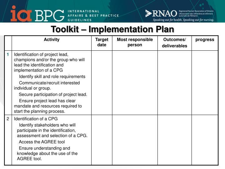 Toolkit – Implementation Plan